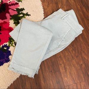 LOFT Petite Mint Green Tiered Raw Hem Skinny Pants